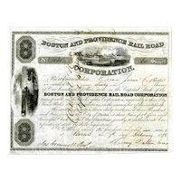 1842 Boston & Providence RR Stock Certificate