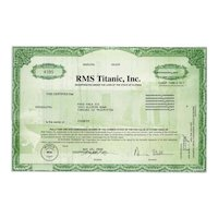 2002 RMS Titanic Inc Stock Certificate