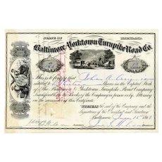 1869 Baltimore & Yorktown Turnpike Road Stock Certificate
