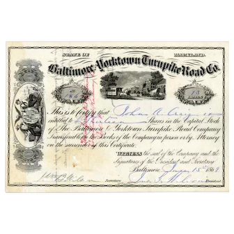 1869 Baltimore & Yorktown Turnpike Road Stock Certificate