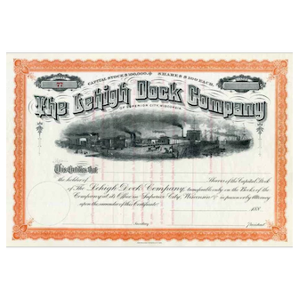 188_ Lehigh Dock Co Stock Certificate