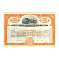 19__ Great Lakes Aircraft Stock Certificate