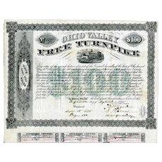 1875 Ohio Valley Free Turnpike $100 Bond