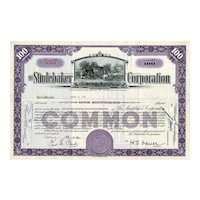 1950s Studebaker Corp Stock Certificate - Great Vignette of Studebaker's Blacksmith Shop