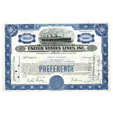 1931 United States Lines Co Stock Certificate