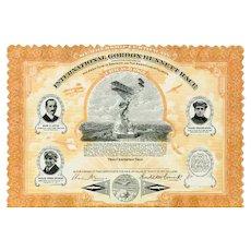 1912 International Gordon Bennett Race Scripophily Certificate