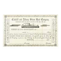 186_ Catskill & Albany Steam Boat Stock Certificate