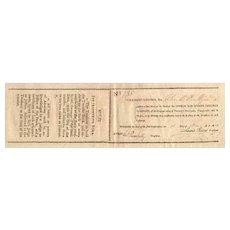 1811 Owego & Ithaca Turnpike Stock Certificate