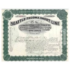 1910 Seattle-Tacoma Short Line Stock Certificate