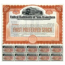 19__ United Railroads of San Francisco Preferred Stock Certificate