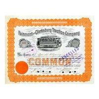 1910 Fairmont & Clarksburg Traction Stock Certificate