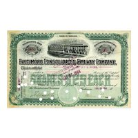1897 Baltimore Consolidated RW Stock Certificate -- tandem trolleys