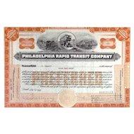 1926 Philadelphia Rapid Transit Co Stock Certificate