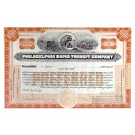 1926 Philadelphia Rapid Transit Co Stock Certificate