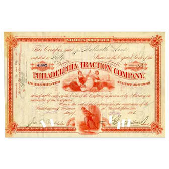1902 Philadelphia Traction Stock signed by Titanic Victim George Widener