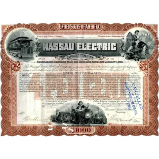 1903 Nassau Electric RR Bond