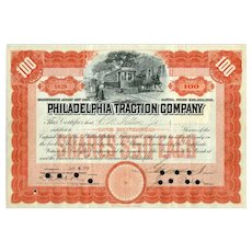 1906 Philadelphia Traction Stock signed by George Widener