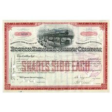 1913 Boston Elevated RW Stock Certificate