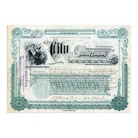 1898 City Railway Co of Dayton Stock Certificate