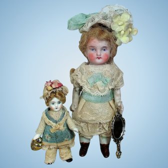 "Two Beautiful 4 1/2"" All Bisque Mignonette Doll & 2 1/2"" All Bisque (swivel neck)  Dollhouse Tiny  Sister dolls"