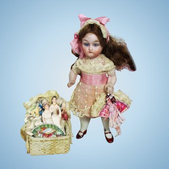 "Gorgeous little rare 4"" All Bisque (glass eyes) Mignonette Doll with box of paper dolls"