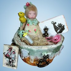 """Tiny 3"""" All Bisque Miniature Dollhouse Baby doll in Basket of toys & accessories"""