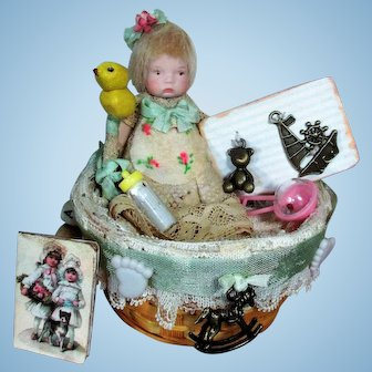 "Tiny 3"" All Bisque Miniature Dollhouse Baby doll in Basket of toys & accessories"