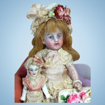 "Two Sweet little unusual 3"" & 3 1/2"" All Bisque Miniature Dollhouse doll sisters & puppies"