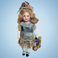 """Lovely 4"""" All Bisque  Mignonette little lady dollhouse doll"""