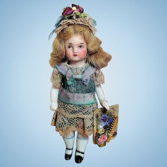 "Lovely 4"" All Bisque  Mignonette little lady dollhouse doll"