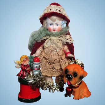 """"""" Little Red Riding Hood & Puppy"""" Sweet 3 1/2"""" all Bisque Miniature Doll & puppy"""
