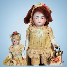 "Sweet 3 1/2"" All Bisque Mignonette Doll & Tiny 2"" all bisque Baby sister  dollhouse dolls"