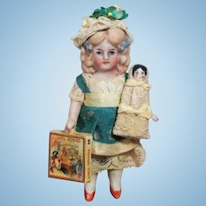 """Lovely 4 1/2"""" All Bisque Mignonette doll house doll & china Baby doll"""