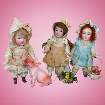 "Tiny 3 1/2"" (swivel neck) All Bisque Miniature Dollhouse Farm Girl with tiny farm animals"
