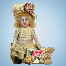 """Tiny 31/2"""" All Bisque Mignonette Dollhouse little lady doll & puppy friend"""