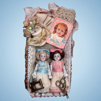 """Sweet little 3 1/2"""" All Bisque (glass eyes) Pocket size Miniature Dollhouse doll or Doll's Doll"""
