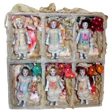 """6 Tiny All Bisque 2"""" Miniature Flower Baby Sisters in Display box"""