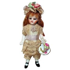 """Sweet & so Tiny 3 1/2"""" All Bisque (Glass eyes, Swivel neck) Pocket size Miniature Dollhouse doll"""