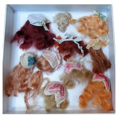 "10 Mini Mohair Doll wigs for tiny 3""-41/2"" all bisque Antique German, French/ Mignonette / Doll house dolls"