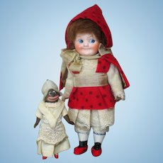 """Cutest 6"""" All Bisque (swivel neck) Doll & 3 1/2"""" (swivel neck)  all Bisque Dolly"""