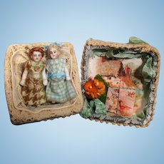 "Two Tiny 2"" All Bisque Miniature Dollhouse doll sisters in keepsake box"