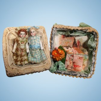 """Two Tiny 2"""" All Bisque Miniature Dollhouse doll sisters in keepsake box"""