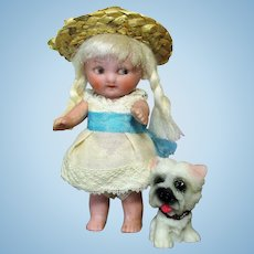 "Cute & unusual 3 1/2"" Chubby Little All Bisque Miniature Dollhouse little girl & Puppy friend"