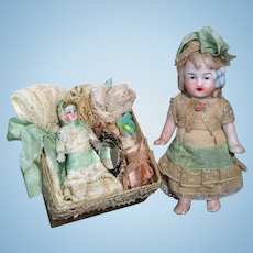 """ Memory Box Dolls"" Beautiful 8 1/2"" (Glass eyes, Swivel head) Bisque Doll with Dolls & Trunk of accessories"