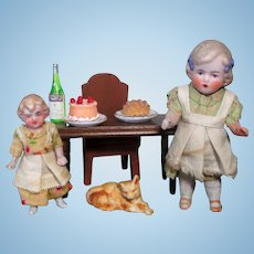 """ Sweet Cakes time"" Two Tiny 2 1/4"" & 3 1/4"" All Bisque miniature Dollhouse sister Dolls & Mini accessories"