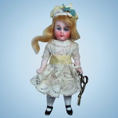 "Tiny Thumbelina & Spools of Thread, Sweet little 3 1/2"" All Bisque (Glass eyes) Mignonette Doll"