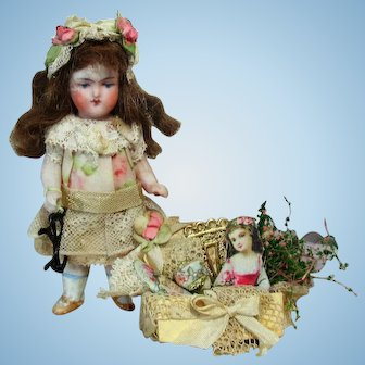"Lovely 3 1/2"" All Bisque  German Mignonette Doll with vanity box"