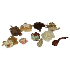 """10 Mini Mohair Doll wigs for tiny 21/2""""-41/2"""" all bisque Antique German, French/ Mignonette / Doll house dolls"""