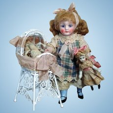 "Sweetest 5"" All Bisque (glass eyes) Mignonette Doll & Dollies w/ Crib"