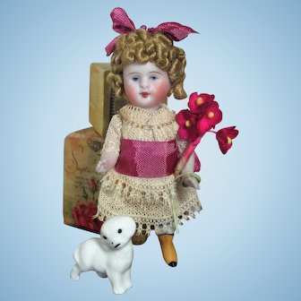 """Precious Rare 3 1/2"""" All Bisque Swivel Head little Mignonette doll (with Yellow boots) & Tiny puppy"""